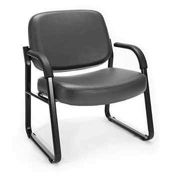 Model 407-VAM Big and Tall Guest and Reception Chair with Arms, Anti-Microbial/Anti-Bacterial Vinyl, Charcoal