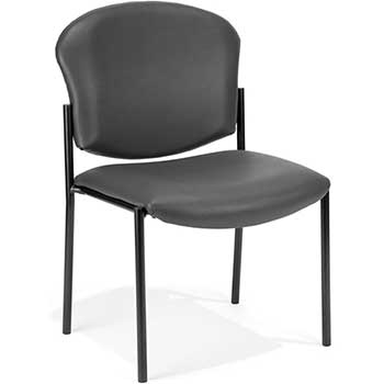 408-VAM-604 Armless Stack Vinyl Chair, Charcoal