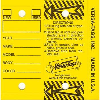 Versa-Tags™ With Rings, Yellow, Form #200, 250/BX