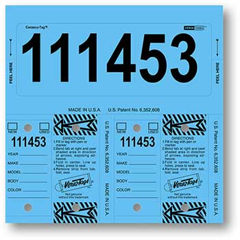 Consecu-Tags, Form #226, Blue, With Numbering, 125/BX
