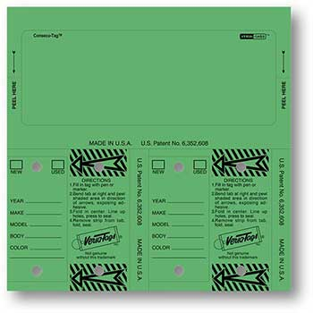 Versa-Tags™ Consecu-Tags, Form #226, Green, Blank, 125/BX