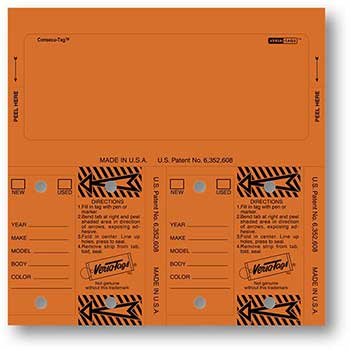 Versa-Tags™ Consecu-Tags, Form #226, Orange, Blank, 125/BX
