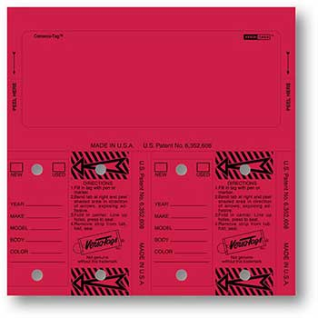 Consecu-Tags, Form #226, Red, Blank, 125/BX