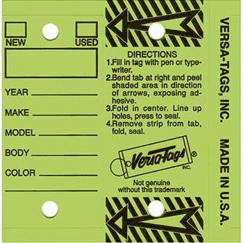 W.B. Mason Auto Supplies Versa-Tag, Lime, Form #200, With Rings, 250/BX