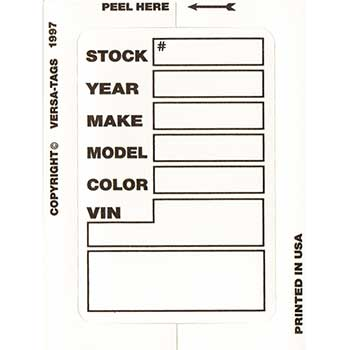 Versa-Tags™ Kleer-Bak Stock Sticker, White, Form #400, 100/BX