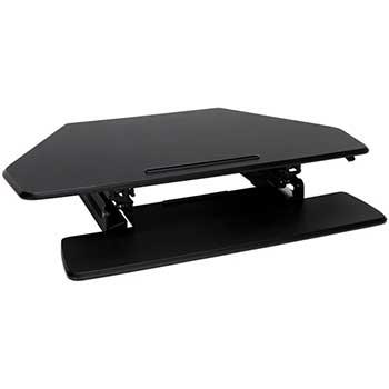 OFM™ Core Collection Adjustable Desktop Riser, Corner Standing L-Shaped Desk Converter, Black