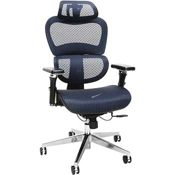 Core Collection Ergo Office Chair featuring Mesh Back and Seat with Head Rest, Blue