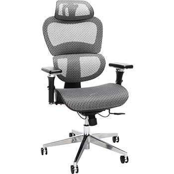 Core Collection Ergo Office Chair featuring Mesh Back and Seat with Head Rest, Gray