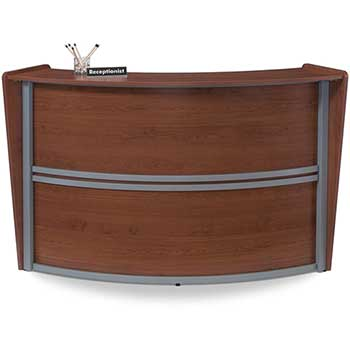 OFM™ Marque Series Single-Unit Curved Reception Station, Cherry