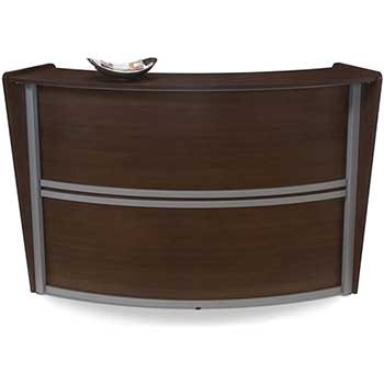 OFM™ Marque Series Single-Unit Curved Reception Station, Walnut