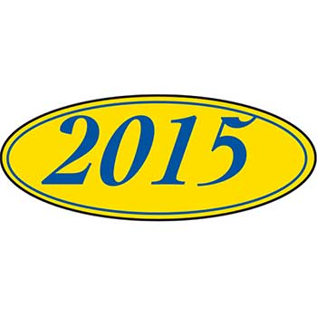 W.B. Mason Auto Supplies Window Sticker, 2015, Oval, Blue/Yellow, 12/PK