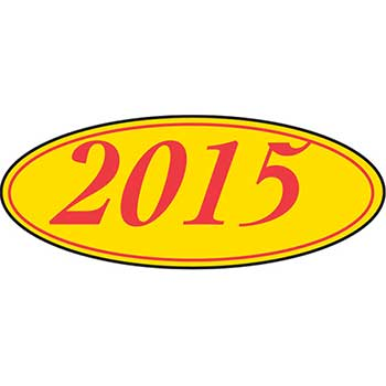Auto Supplies Window Sticker, 2015, Oval, Red/Yellow, 12/PK