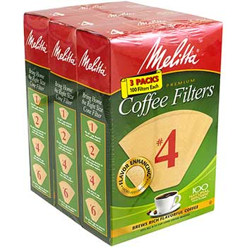 Melitta® Melitta Coffee Filters #4, 100 Count, 3/BX
