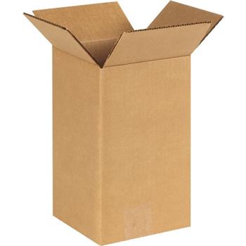 "Tall Corrugated boxes, 6"" x 6"" x 10"", Kraft, 25/BD"