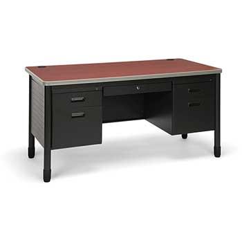 OFM™ Mesa Series Model 66360 5-Drawer Double Pedestal Teacher's Desk, Cherry