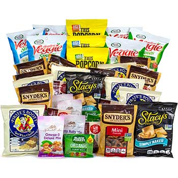 Healthy Treats Variety Snack Box – Stonyfield Fruit Snacks, Popcorn, Veggie Straws & More, 37/BX