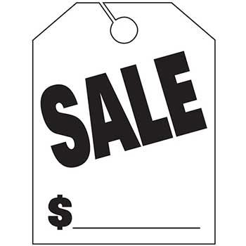 Auto Supplies Mirror Hang Tags, Sale, Large, White, 50/PK