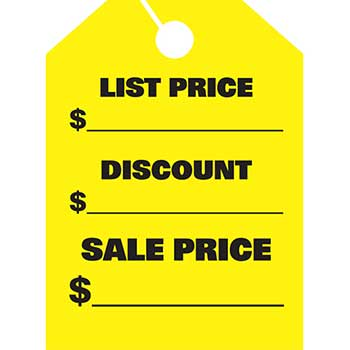 Auto Supplies Mirror Hang Tags, List & Discount, Large, Yellow, 50/PK