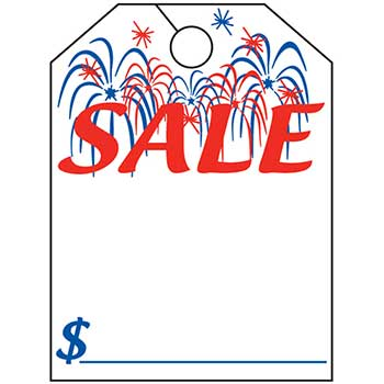 "W.B. Mason Auto Supplies Mirror Hang Tag, Sale with Fireworks, 8.5"" x 11.5"", 50/PK"