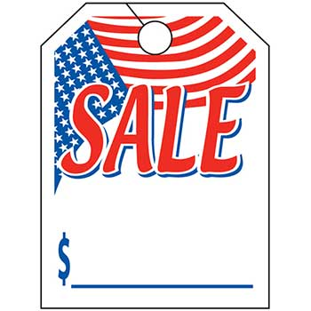 "W.B. Mason Auto Supplies Mirror Hang Tag, Sale with Flag, 8.5"" x 11.5"", 50/PK"