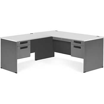 OFM™ Executive Series Model 77366-L L-Shaped Desk with Left Pedestal Return and Laminate Top, Gray Nebula