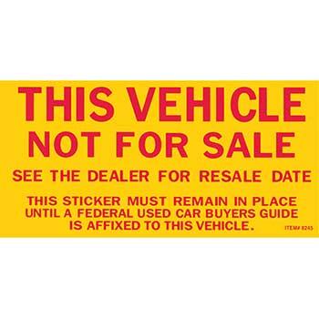 "W.B. Mason Auto Supplies Vehicle Not for Sale Sticker, 2 3/4"" x 5 1/2"", 100/PK"