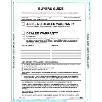 W.B. Mason Auto Supplies Buyers Guide, BG-2017-PA, AI-E, As Is, P/A, 100/BX