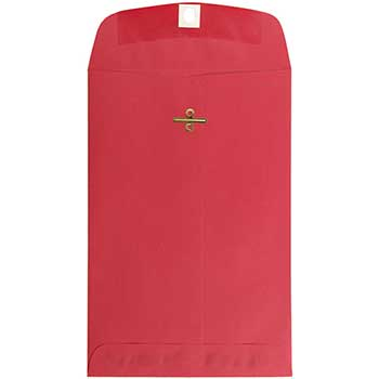 """JAM Paper® Open End Catalog Envelopes with Clasp Closure, 6"""" x 9"""", Red Recycled, 100/CT"""