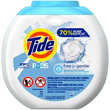 PODS Laundry Detergent Pacs, Free & Gentle, 72 Count