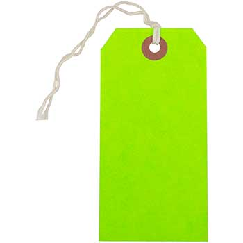 """JAM Paper Gift Tags with String, 4 3/4"""" x 2 3/8"""", Neon Green, 100/BX"""
