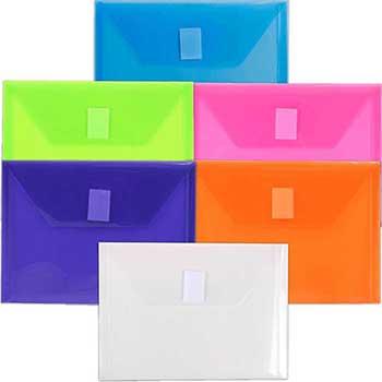 "Plastic Envelopes with Velcro Closure, 5 1/2"" x 7 1/2"", Assorted, 6/PK"