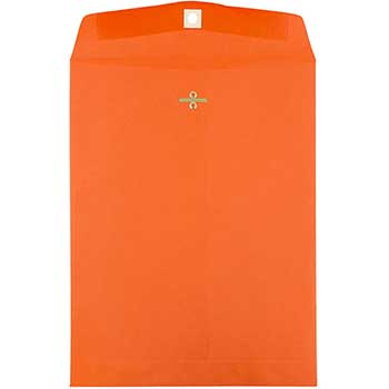 """Envelopes with Clasp Closure, 9"""" x 12"""", Orange Recycled, 100/BX"""
