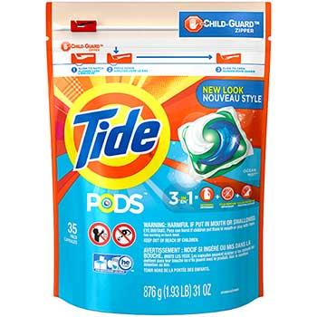 Tide® PODS HE Turbo Liquid Detergent Pacs, Ocean Mist Scent , 35 count, 4/Carton