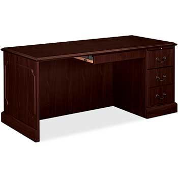"""HON® 94000 Series """"L"""" Desk For Left Return, 66w x 30d x 29-1/2h, Mahogany"""