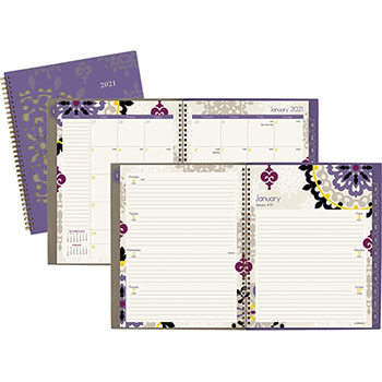 "AT-A-GLANCE® Vienna Weekly/Monthly Appointment Book, 8 1/2"" x 11"", Purple, 2021"
