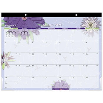 "AT-A-GLANCE® Paper Flowers Desk Pad, 22"" x 17"", 2021"