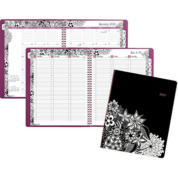 """AT-A-GLANCE® Floradoodle Professional Weekly/Monthly Planner, 9 3/8"""" x 11 3/8"""", 2021"""