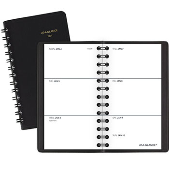 """AT-A-GLANCE® Weekly Planner, 2 1/2"""" x 4 1/2"""", Black, 2021"""