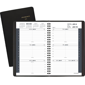 """AT-A-GLANCE® Weekly Appointment Book Ruled for Hourly Appointments, 4 7/8"""" x 8"""", Black, 2021"""