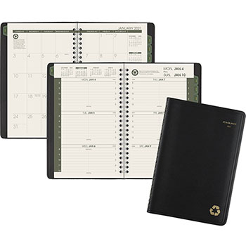 """AT-A-GLANCE® Recycled Weekly/Monthly Appointment Book, 4 7/8"""" x 8"""", Black, 2022"""