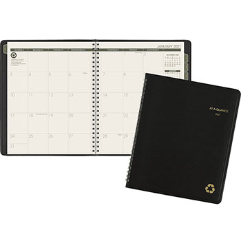 """AT-A-GLANCE® Recycled Monthly Planner, 6 7/8"""" x 8 3/4"""", Black, 2021"""