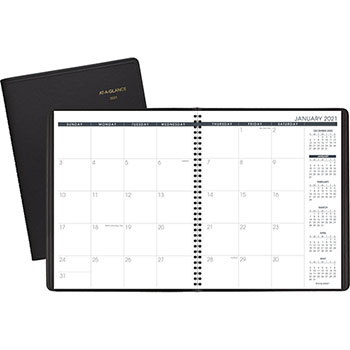 "AT-A-GLANCE® Recycled Monthly Planner, 9"" x 11"", Black, 2021"