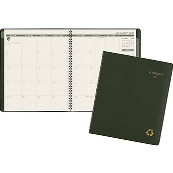 "AT-A-GLANCE® Recycled Monthly Planner, 9"" x 11"", Green, 2021"