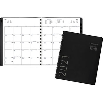 """AT-A-GLANCE® Contemporary Monthly Planner, Premium Paper, 9"""" x 11"""", Black Cover, 2022"""