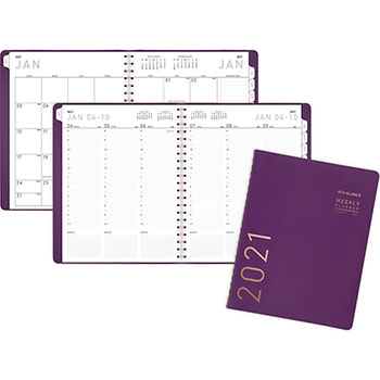 "AT-A-GLANCE® Contemporary Weekly Monthly Appointment Book, 8 1/4"" x 10 7/8"", Purple, 2021"