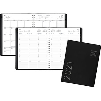 "AT-A-GLANCE® Contemporary Weekly/Monthly Planner, Column, 8 1/4"" x 10 7/8"", Black Cover, 2021"