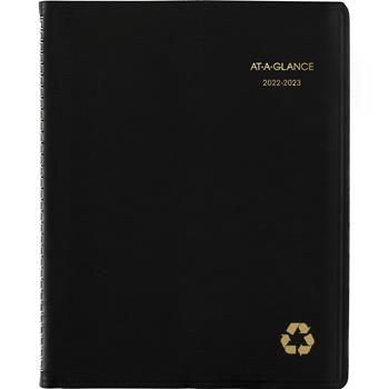 AT-A-GLANCE® Recycled Academic Week/Month Classic Appt Book, 8-1/4 x 10-7/8, Black, 2021-2022