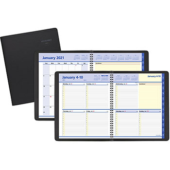 """AT-A-GLANCE® QuickNotes Weekly/Monthly Appointment Book, 8"""" x 9 7/8"""", Black, 2021"""