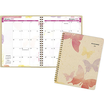 "AT-A-GLANCE® Watercolors Monthly Planner, 6 7/8"" x 8 3/4"", Watercolors, 2021"