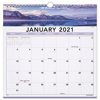 """Landscape Monthly Wall Calendar, 12"""" x 12"""", 2021"""